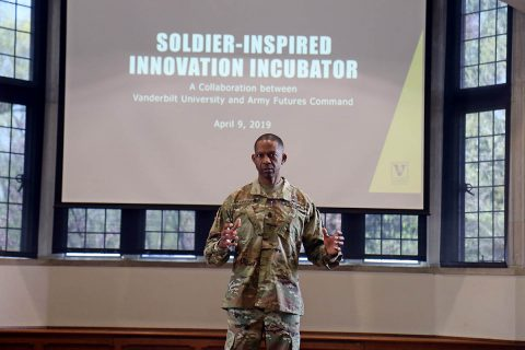 Command Sgt. Maj. Michael Crosby, the senior enlisted advisor for Army Futures Command, speaks to a collection of Leaders from 3rd Brigade Combat Team, 101st Airborne Division (Air Assault) and professors from Vanderbilt University about Soldier-Inspired Innovation at Alumni Hall April 9th. (Staff Sgt. Cody Harding, 3rd BCT Public Affairs)