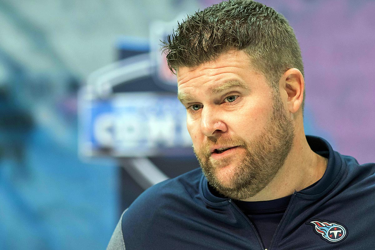 Tennessee Titans general manager Jon Robinson at the 2019 NFL Combine at Indianapolis Convention Center. (Trevor Ruszkowski-USA TODAY Sports)