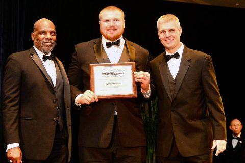 Austin Peay Football Offensive linemen Ryan Rockensuess receives Hampshire Honor Society award. (APSU Sports Information)