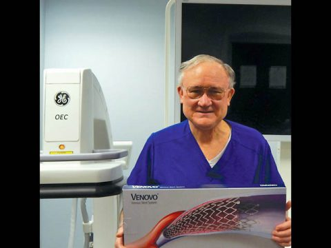 Stephen F. Daugherty, MD of VeinCare Centers of Tennessee holding a BD Venovo stent.