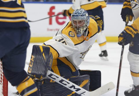 Nashville Predators goaltender Pekka Rinne (35) looks to make a save during the second period against the Buffalo Sabres at KeyBank Center. (Timothy T. Ludwig-USA TODAY Sports)