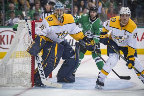 Apr 15, 2019; Dallas, TX, USA; Nashville Predators goaltender Pekka Rinne (35) and defenseman Roman Josi (59) defend against Dallas Stars center Mats Zuccarello (36) during the second period in game three of the first round of the 2019 Stanley Cup Playoffs at American Airlines Center. Mandatory Credit: Jerome Miron-USA TODAY Sports