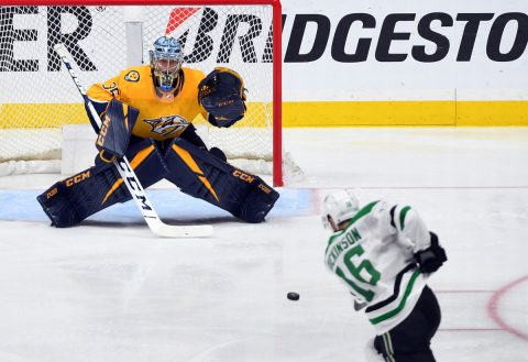 Apr 20, 2019; Nashville, TN, USA; Nashville Predators goaltender Pekka Rinne (35) is unable to stop a slap shot from Dallas Stars center Jason Dickinson (16) during the third period in game five of the first round of the 2019 Stanley Cup Playoffs at Bridgestone Arena. Mandatory Credit: Christopher Hanewinckel-USA TODAY Sports