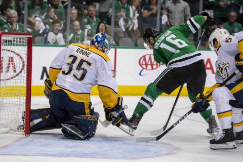 Apr 22, 2019; Dallas, TX, USA; Nashville Predators goaltender Pekka Rinne (35) stops a shot by Dallas Stars center Jason Dickinson (16) during the second period in game six of the first round of the 2019 Stanley Cup Playoffs at American Airlines Center. Mandatory Credit: Jerome Miron-USA TODAY Sports