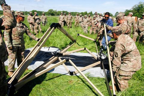 Lifeliner Soldiers of the Headquarters and Headquarters Company, 'Angry Dogs', 101st Special Troops Battalion, 101st Sustainment Brigade, 101st Airborne Division (Air Assault), begin setting up tents for the Tactical Operations Center Exercise for the upcoming week's training exercise, May 6, 2019, on Fort Campbell, Ky. (Staff Sgt. Caitlyn Byrne, 101st Sustainment Brigade Public Affairs)