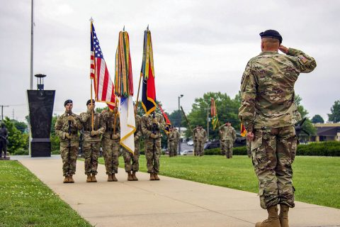 Command Sgt. Maj. Bryan D. Barker, incoming senior enlisted advisor for the 101st Airborne Division (Air Assault, salutes the colors during his assumption of responsibility ceremony May 10, Fort Campbell, Kentucky. Barker enlisted in the Army in 1996 and has served in various positions, from rifleman to Command Sgt. Maj. throughout his career. (Spc. Andrew Jo, 101st Airborne Division)