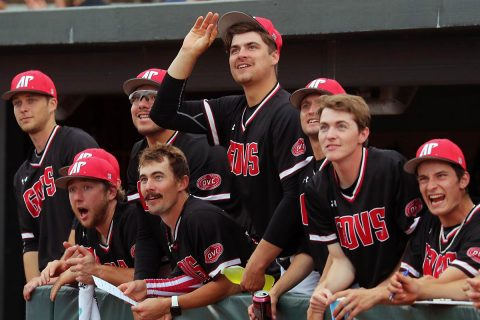 The Austin Peay Baseball team watches solo home run by Parker Phillips against Jacksonville Friday night at Raymond C. Hand Park. (Robert Smith, APSU Sports Information)