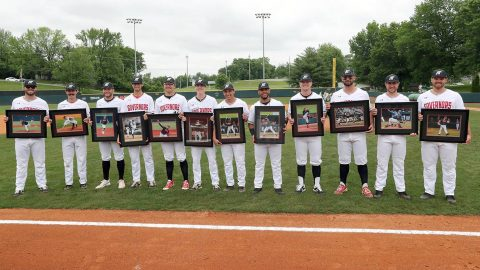 Austin Peay Baseball seniors are honored Sunday before the game against Jacksonville. (Robert Smith, APSU Sports Information)