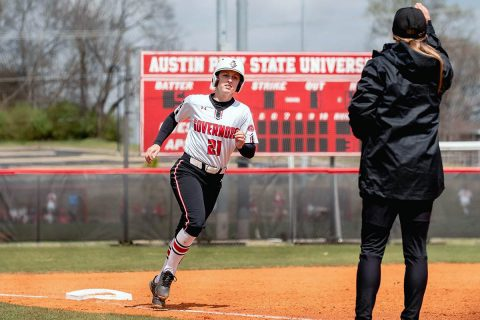 Austin Peay Softball redshirt junior Kacy Acree had 6 hits on 7 at bats in doubleheader against SIU Edwardsville, Sunday. (APSU Sports Information)