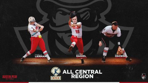 Austin Peay Softball's Danielle Liermann, Morgan Rackel, and Lexi Osowski named to National Fastpitch Coaches Association Central Region's Third Team. (APSU Sports Information)