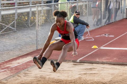 Austin Peay Track and Field's Maya Perry-Grimes gets gold in the long jump at OVC Outdoor Championships. (APSU Sports Information)