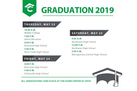 2019 CMCSS High School Graduation Schedule