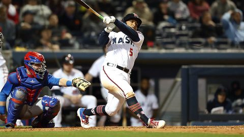 Nashville Sounds left fielder Willie Calhoun hits a solo homerun in the sixth inning in loss to Omaha Storm Chasers Thursday night at First Tennessee Park. (Nashville Sounds)
