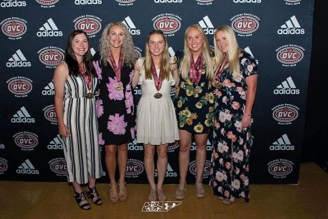 Austin Peay Softball's (L to R) Carly Mattson, Morgan Rackel, Kacy Acree, Lexi Osowski and Danielle Liermann earn All-OVC honors. (APSU Sports Information)