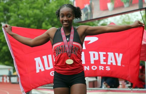 Austin Peay Track and Field sophomore Lennex Walker won Gold in the 100m hurdles with a time of 13.89 at the 2019 OVC Outdoor Championships. (APSU Sports Information)
