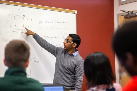 Austin Peay State University mathematics professor Dr. Sumen Sen leads a class recently on campus. (APSU)