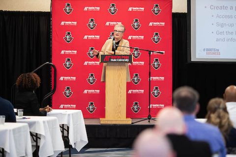 Austin Peay State University President Alisa White speaks at a previous industry summit. (APSU)