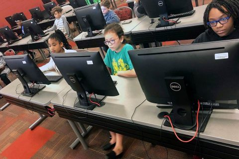 Junior coders participate in a coding class during the spring 2019 semester at Austin Peay State University.