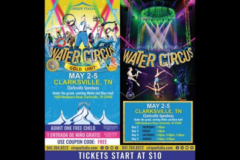 Cirque Italia Water Circus will be at the Clarksville Speedway, May 2nd - 5th.