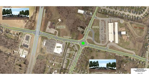 A drawing of the proposed roundabout option for the Whitfield/Needmore Road intersection.