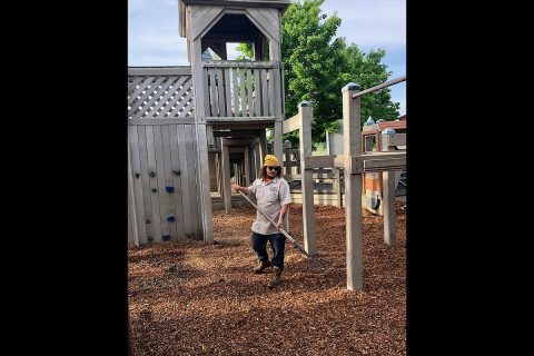 Clarksville Parks and Recreation replaces mulch at the Liberty Park Playground after flooding.