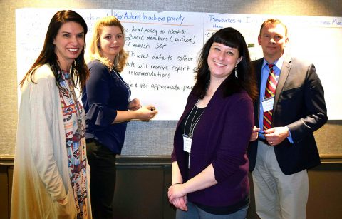 Misty Leitsch, Zero Suicide Director, Tennessee Suicide Prevention Network, and members of the Clarksville Suicide Prevention Alliance, work on plans to bring more suicide prevention training to the Clarksville community. Leitsch has already completed training sessions for the City of Clarksville workforce. (L to R) Kara Merriam, Centerstone, Clarksville; Leitsch; Carrie Brensike, Tennessee Valley VA.; and Joey Smith; Montgomery County Health Director.