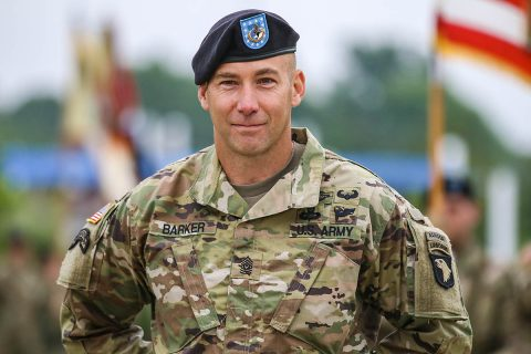 Command Sgt. Maj. Bryan D. Barker, incoming senior enlisted advisor for the 101st Airborne Division (Air Assault), listens to remarks during his assumption of responsibility ceremony, May 10, Fort Campbell, Kentucky. Barker enlisted in the U.S. Army in 1996 and has served in many positions from rifleman to command sergeant major throughout his career. (U.S. Army photo by Spc. Beverly Roche, 101st Airborne Division)