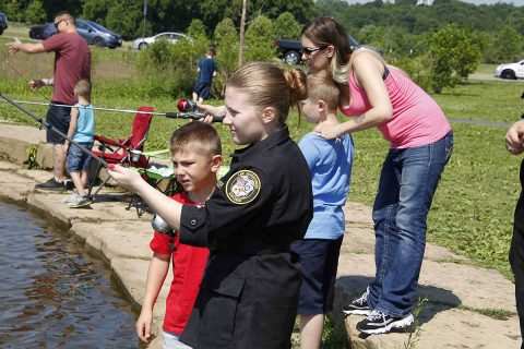 """Kids had a great time at Saturday's """"Cops and Bobbers"""" event. (Jim Knoll, CPD)"""