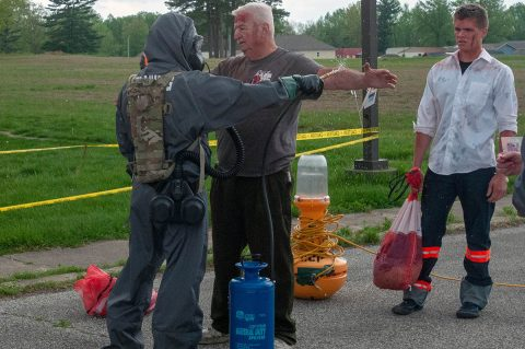 U.S. Army Soldiers assigned to the 501st Area Support Medical Company, based in Fort Campbell, Kentucky, conduct decontamination operations and medical evaluations during Guardian Response 2019 at Muscatatuck Urban Training Center in Indiana, May 1st, 2019. (Staff Sgt. Eric W. Jones, Army Reserve Medical Command)