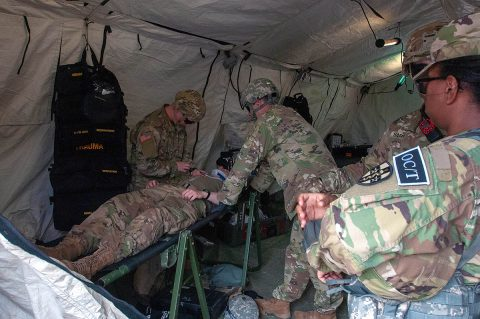 Pvt. Hunter Rodgers, a medic, and Capt. Chris Whittaker, a physician's assistant, both assigned to 501st Area Support Medical Company based out of Fort Campbell, Kentucky, treat simulated patient, Pvt. Cameron Herring, while Observer Coach/Trainer Capt. Marjorie Attimy-Kalevela, a dentist with 7303rd Medical Training Support Battalion from Fort Gordon Georgia, observes the training as part of Guardian Response 2019 at Muscatatuck Urban Training Center, Indiana, May 1st, 2019. (Staff Sgt. Eric W. Jones, Army Reserve Medical Command)