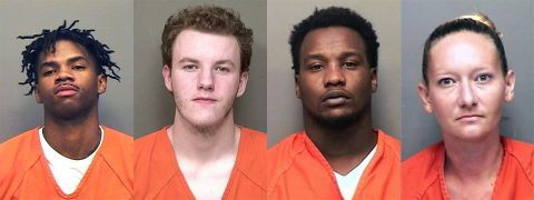Joshua David Shandle, Shaun Austin Swift, Shawnquavious Kiwane Kelly, and Tiffany Dawn Miller are wanted by the Montgomery County Sheriff's Office.