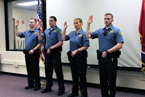 Montgomery County Sheriff's Office (MCSO) swares in Joseph Doherty, Stacie Grier, Ryan Miller, Brandon Travis, and Jude Songui (not pictured).
