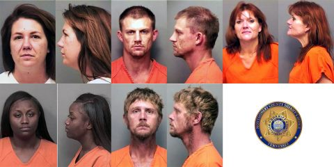 (Top L to R) Katie Lee Schroeder, Jamie Lee Drenth, Liana Lynn Allen, (Bot L to R) Stephanie Nicole Howard, and Adam Wayne Felts are wanted by the Montgomery County Sheriff's Office.