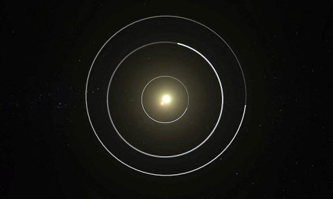 An overhead view of the orbital configuration of the Kepler-47 circumbinary planet system. (NASA/JPL Caltech/T. Pyle)