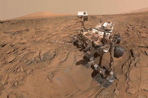 "This is an image of a May 11th, 2016, selfie of NASA's Curiosity Mars rover at a drilled sample site called ""Okoruso."" (NASA/JPL-Caltech/MSSS)"