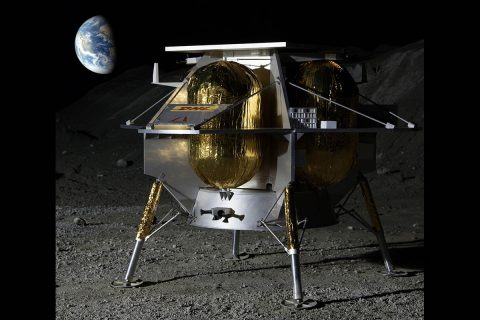 Astrobotic of Pittsburgh has proposed to fly as many as 14 payloads to a large crater on the near side of the Moon. (Astrobotic)