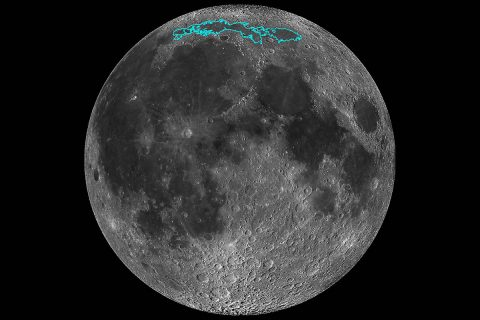 New surface features of the Moon have been discovered in a region called Mare Frigoris, outlined here in teal. This image is a mosaic composed of many images taken by NASA's Lunar Reconnaissance Orbiter (LRO). (NASA)