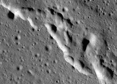 Scientists have discovered these wrinkle ridges in a region of the Moon called Mare Frigoris. These ridges add to evidence that the Moon has an actively changing surface. This image was taken by NASA's Lunar Reconnaissance Orbiter (LRO). (NASA)