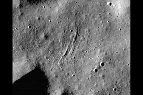 These graben - a kind of trench that is formed as a surface expands - were imaged near a region of the Moon called Mare Frigoris by NASA's Lunar Reconnaissance Orbiter (LRO). (NASA)