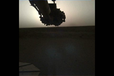 NASA's InSight lander used its Instrument Deployment Camera (IDC) on the spacecraft's robotic arm to image this sunrise on Mars on April 24, 2019, the 145th Martian day (or sol) of the mission. This was taken around 5:30am Mars local time. (NASA/JPL-Caltech)