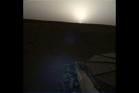 NASA's InSight lander used the Instrument Deployment Camera (IDC) on the end of its robotic arm to image this sunset on Mars. This color-corrected version more accurately shows the image as the human eye would see it. (NASA/JPL-Caltech)