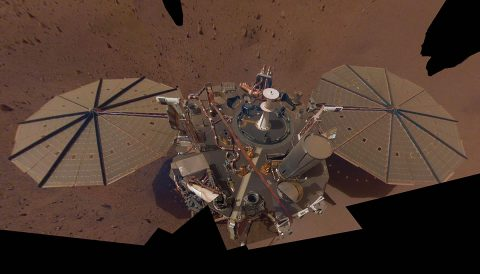 This is NASA InSight's second full selfie on Mars. Since taking its first selfie, the lander has removed its heat probe and seismometer from its deck, placing them on the Martian surface; a thin coating of dust now covers the spacecraft as well. (NASA/JPL-Caltech)