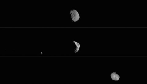 These three views of the Martian moon Phobos as viewed in visible light by NASA's 2001 Mars Odyssey orbiter. (NASA/JPL-Caltech/ASU/SSI)