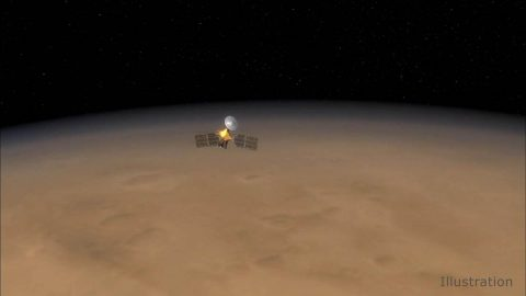 This still from an animation shows NASA's Mars Reconnaissance Orbiter soaring over Mars. The spacecraft has been in Mars orbit for 13 years, and just completed 60,000 trips around the planet. (NASA/JPL-Caltech)