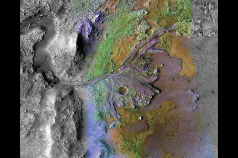 This image of Jezero Crater on Mars, the landing site for NASA's Mars 2020 mission, was taken by instruments on NASA's Mars Reconnaissance Orbiter, which regularly takes images of potential landing sites for future missions. (NASA/JPL-Caltech/MSSS/JHU-APL)