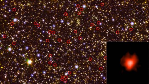 This deep-field view of the sky (center) taken by NASA's Hubble and Spitzer space telescopes is dominated by galaxies - including some very faint, very distant ones - circled in red. The bottom right inset shows the light collected from one of those galaxies during a long-duration observation. (NASA/JPL-Caltech/ESA/Spitzer/P. Oesch/S. De Barros/I.Labbe)