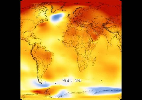 Earth's long-term warming trend can be seen in this visualization of NASA's global temperature record, which shows how the planet's temperatures are changing over time, compared to a baseline average from 1951 to 1980. The record is shown as a running five-year average. (NASA's Scientific Visualization Studio/Kathryn Mersmann)
