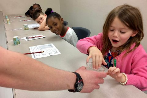 Dr. Karen Meisch, interim dean of Austin Peay State University's College of STEM showed Sango Elementary School Students the wonder of science. (APSU)