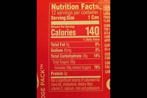 Nutrient content label.