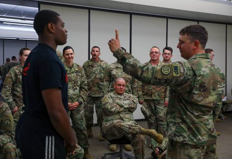 Soldiers of the 152nd Military Police Company, 203rd Military Battalion, Alabama National Guard, participate in Standard Field Sobriety Test training held by the 716th Military Police Battalion, 101st Sustainment Brigade, 101st Airborne Division (Air Assault), on Fort Campbell, Ky., June 19, 2019. (Staff Sergeant Caitlyn Byrne, 101st Sustainment Brigade)